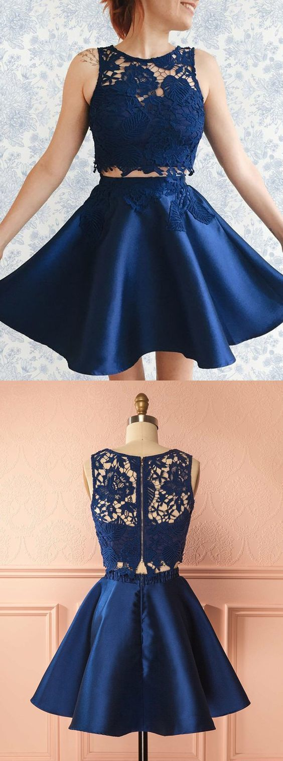 Boho Prom Dress, Two Piece Bateau Short Dark Blue Satin Homecoming Dress with Lace Appliques