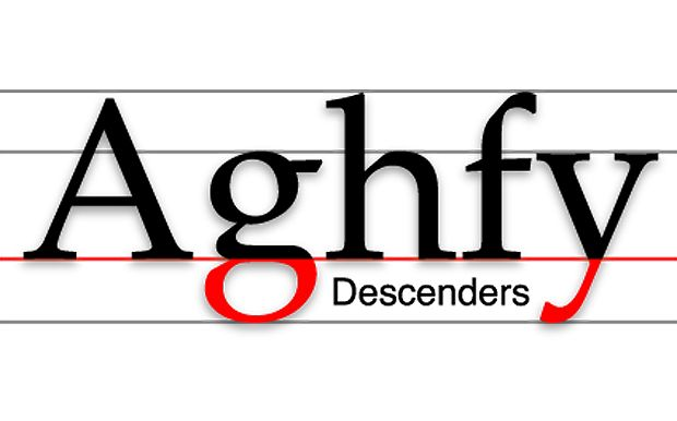 A descender is the drop of letters from the baseline reaching past, examples are g, y, and p.
