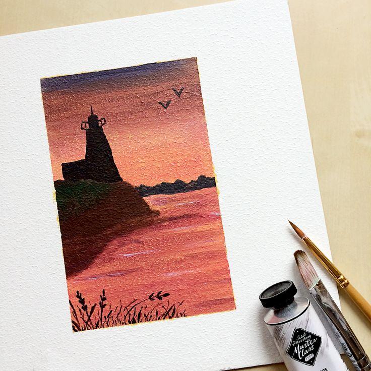 Sunset Lighthouse, acrylic painting
