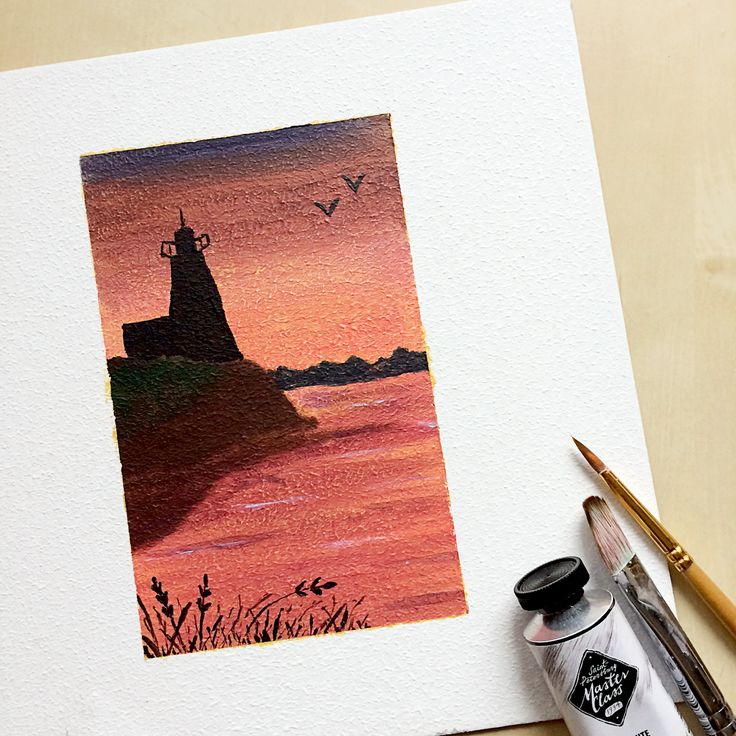 Sunset Lighthouse, acrylic painting