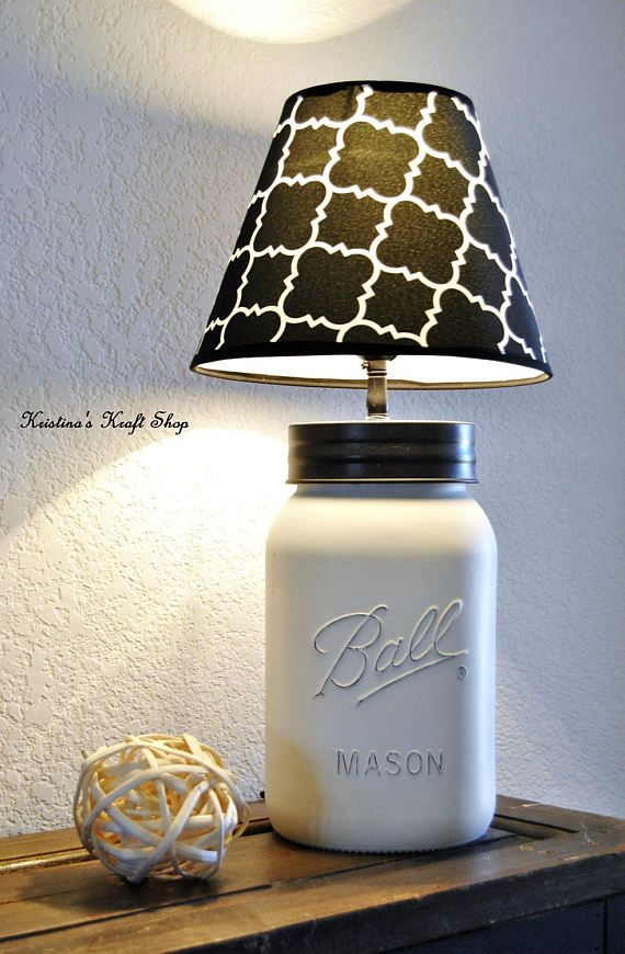 Gallon Size Mason Jar Lamp Distressed In Heirloom White with