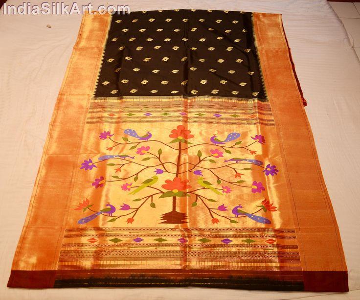 Silk Sari - Hand Woven Fancy Wall Pallu - Black