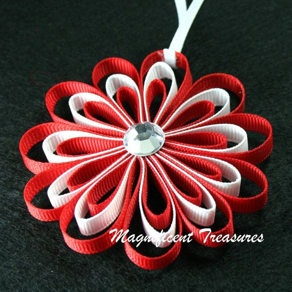 Beautiful ornament ... could I make this??? Red and White Ribbon Flower Christmas Tree Ornament via Etsy