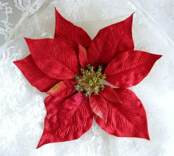 Poinsettia Velvet Flower Christmas Flower by afloralaffair on Etsy