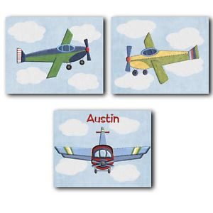 Red Baron Airplane nursery bedding artwork art decor PRINTS for baby boy kid