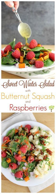 Sweet Winter Salad with Butternut Squash and Raspberries from EricasRecipes.com. #ad #NourishWhatMatters