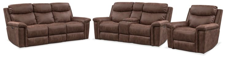 Montana Dual Power Reclining Sofa, Reclining Loveseat And Recliner Set - Brown