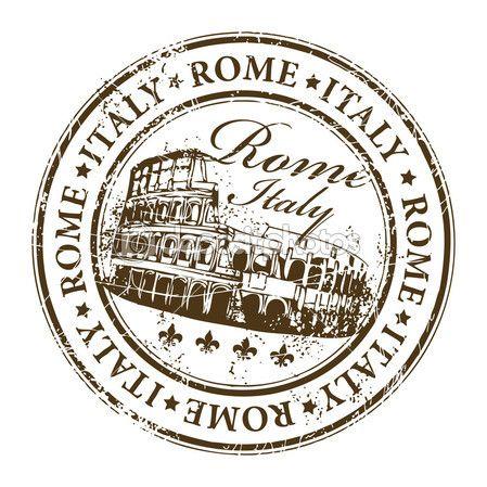 sello de goma Grunge con el Coliseo y la palabra en Roma dentro de ...
