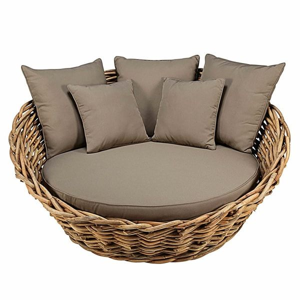 Round Garden Sofa In Rattan With Taupe Cushions Gartensofa