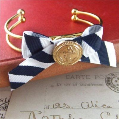 Nautical Style, Anchors Aweigh, Anchors Bracelets, Nautical Stripes, Buttons Bracelets, Diy Bracelets, Nautical Bracelets, Accessories, Bows Bracelets
