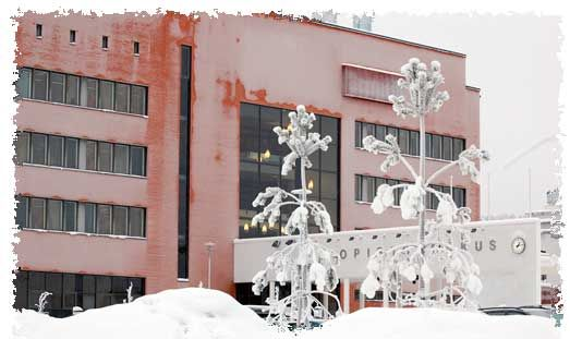 Kokkola University Consortium Chydenius in the winter.