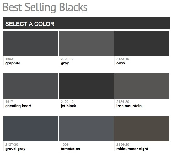 Best selling popular shades of black dark neutral for Shades of neutral colors