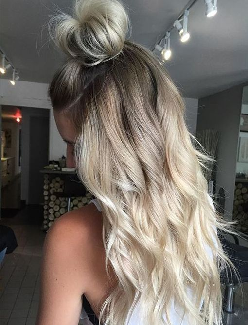 Top Knot with platinum hair colors ideas for winter season 2016 - 2017