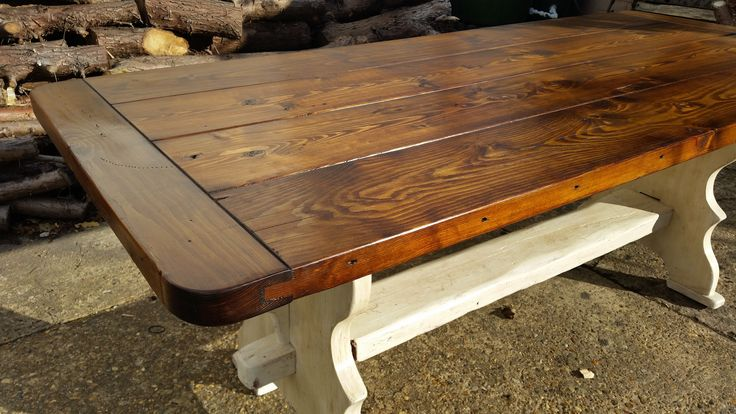 "Handmade 6' 6"" x 3' Rustic Pine Trestle Table"