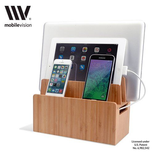 The Original G.U.S. Black Leatherette Multi-device Charging Station and Dock - Charges all your devices in one place. Compatible with Apple iPhone, iPads, Samsung Galaxy, MacBook, Smartphones & Tablets