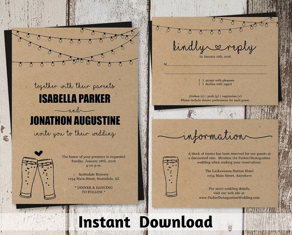 Brewery Wedding Invitation Template - Rustic Beer Pint Glass Toast Printable Set - Kraft Paper | Instant Download PDF Suite - String Lights