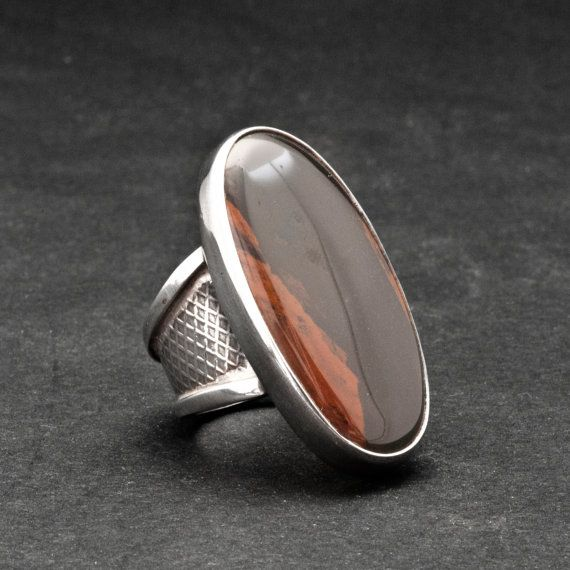 Big Agate Statement Ring Large Brown Agate by SunSanJewelry