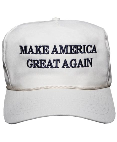 The Donald J Trump Make America Great Again! Structured cap in white with embroidered logo.