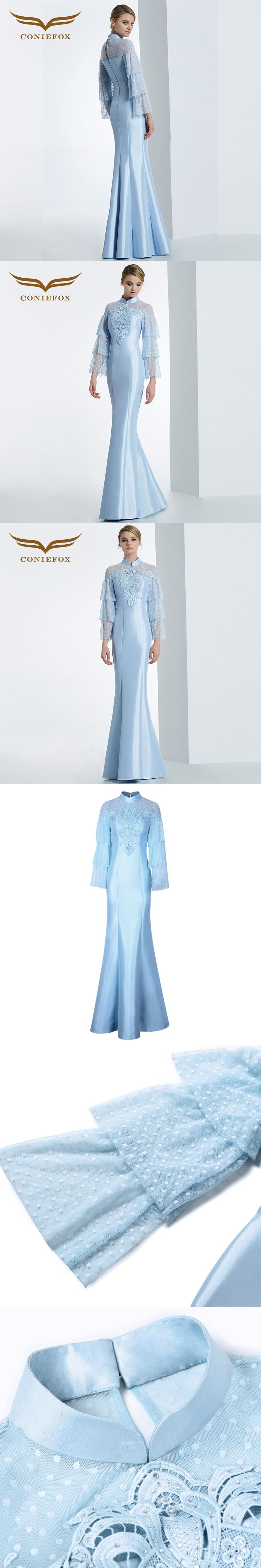 CONIEFOX 31621 blue Mermaid Luxury Lace prom dresses Ladies evening party dress gown Xmas dress robe de soiree 2016 NEW