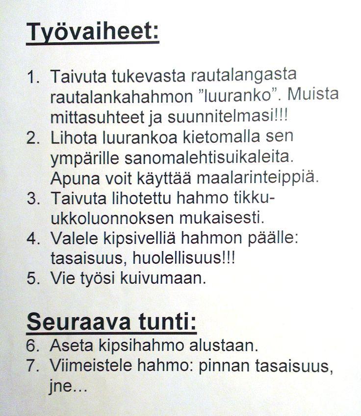 5. lk muotoilu / rakentelu.  Kipsityö - vaiheet (ohje).