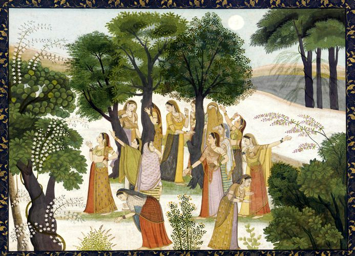 Gopis searching for Krishna, Bhagavata Purana, c1780. Opaque watercolor and gold on paper.
