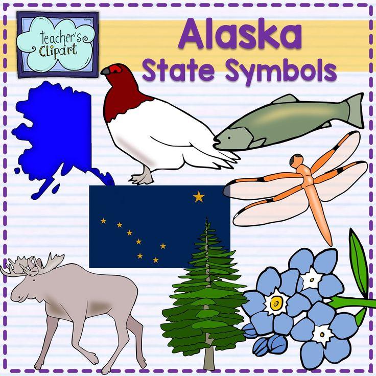 Alaska state symbols clipart symbols line art and the state