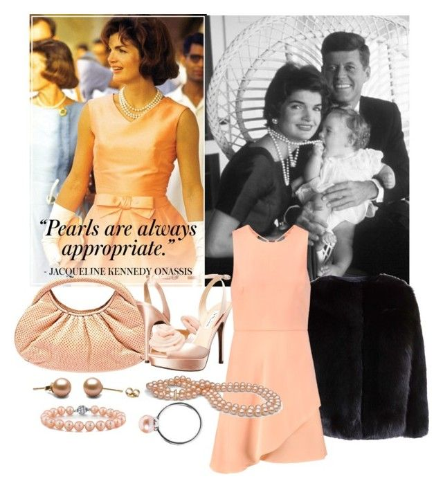 """""""jackie kennedy 'pearls'"""" by aries-indonesia ❤ liked on Polyvore featuring Judith Leiber, Nina, Trollbeads and Halston Heritage"""