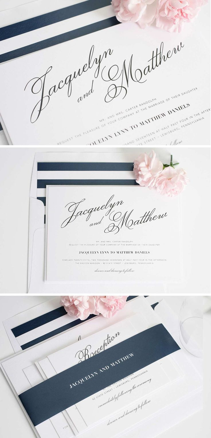 Vintage Romance Navy Blue Striped Wedding Invitation Suite | Great Gatsby Wedding Ideas | Shine Wedding Invitations