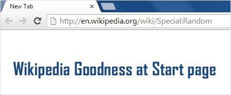 Want to read something new everyday? Set #Wikipedia random page as #Chrome start page.