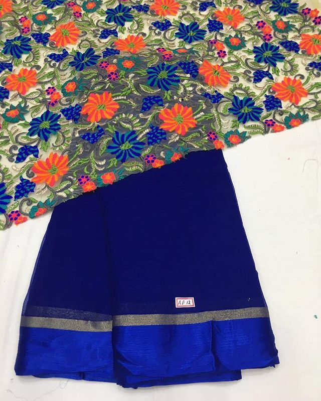 Blue georgette Saree with heavy embroidery blouse piece To purchase this product…