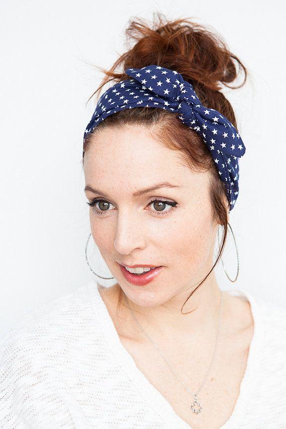 Star-Spangled Banner Headband Blue Headband with by MinitaStudio