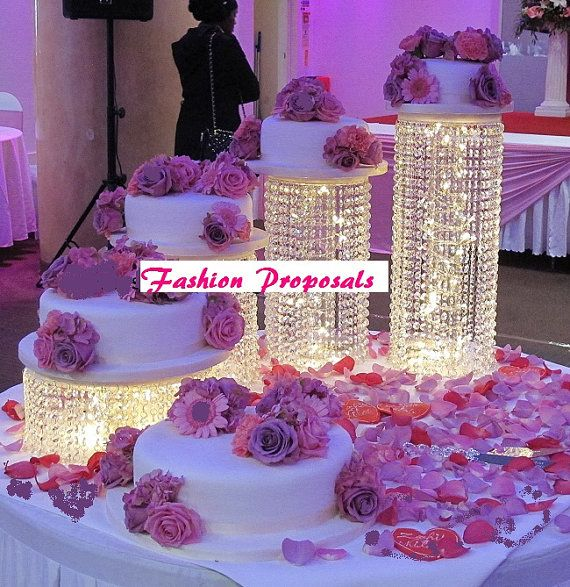 Wedding Cake Stand Cascade waterfall crystal set of 4 Asian Wedding Crystal cake Stand wedding with a battery operated LED light.