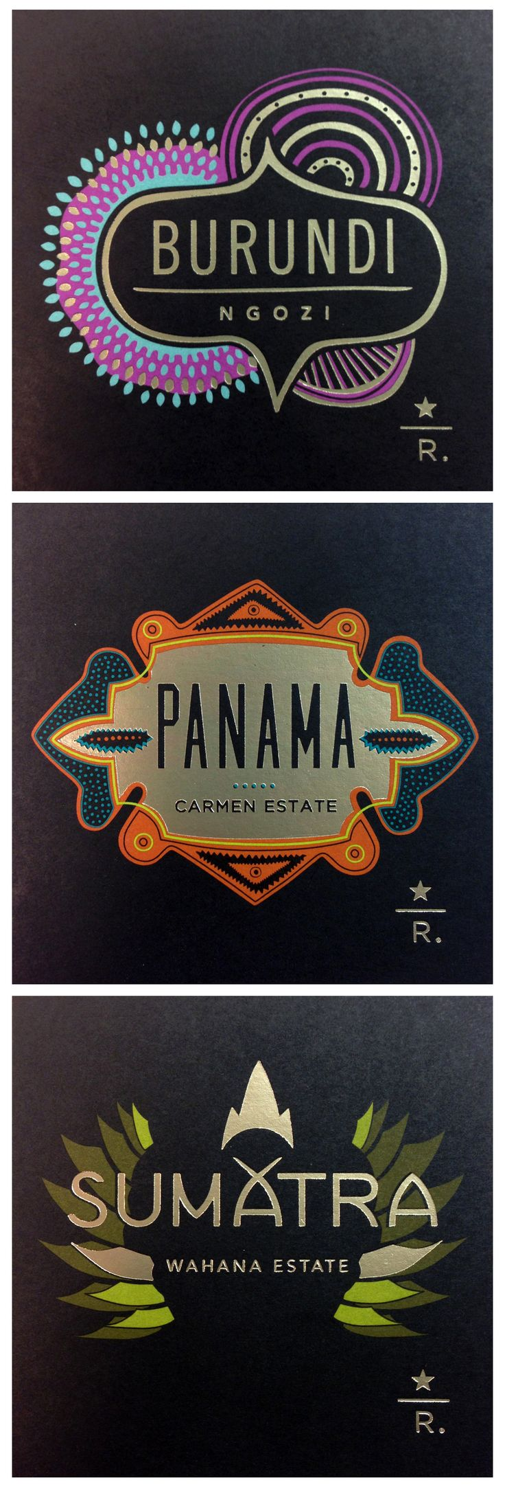 Some really impressive designs for the new Starbucks Reserve Coffee labels.