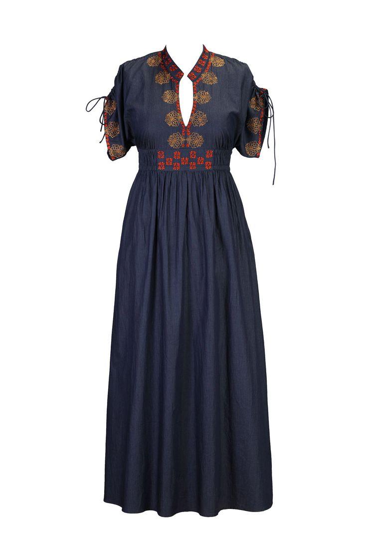 eShakti Women's Floral embellished chambray denim maxi dress at Amazon Women's Clothing store: