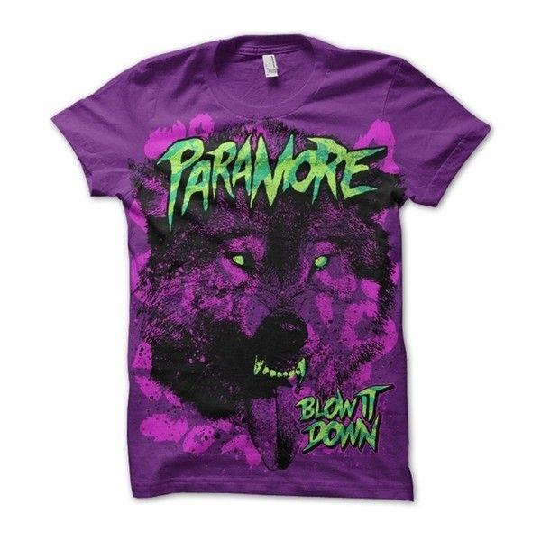 Paramore Band Shirt ❤ liked on Polyvore featuring tops, shirts, paramore, band, purple shirt, purple top and shirt top