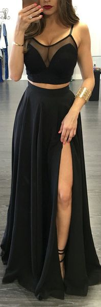 Custom Made Black Prom Dress,Popular Two Pieces Evening Dress,Floor Length Party Gown,Spaghetti Straps Pegeant Dress,Split at lower part of dress