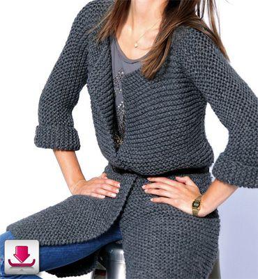 Manteau femme au point mousse - e-Modèles tricot à télécharger - Phildar