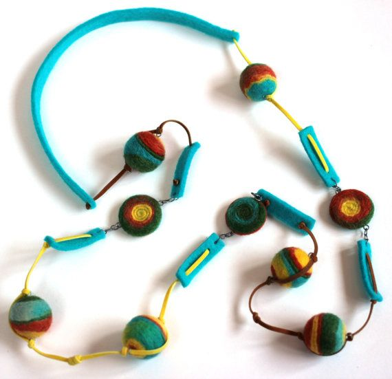 "Felt necklace "" Rainbow Colors "" - Felt necklace - Long necklace - Colourful long necklace. Handmade. 56 см"