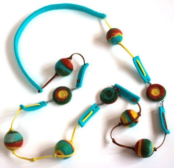 "Felt necklace "" Rainbow Colors "" - Felt necklace - Long necklace - Colourful long necklace. Handmade. 56 см"