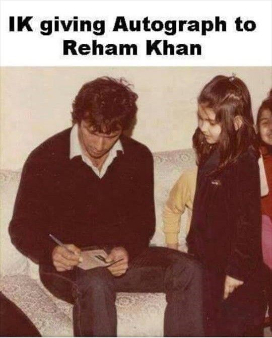 1. An old picture of Imran Khan giving autograph to Reham Khan, decades ago
