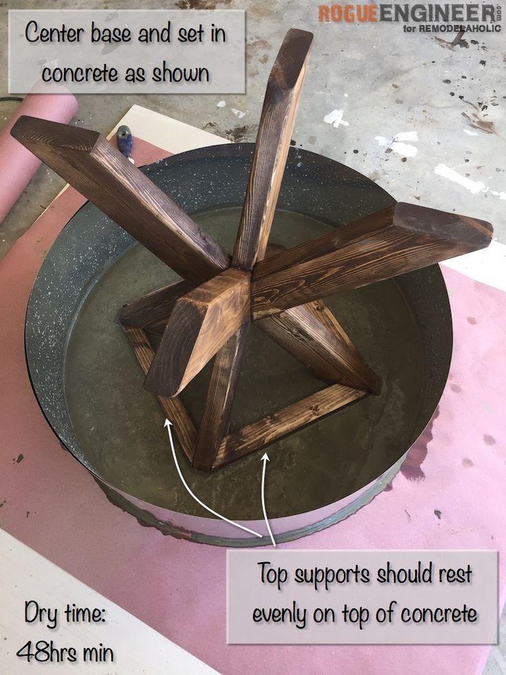 DIY X-Brace Concrete Topped Side Table Plans | Step 17