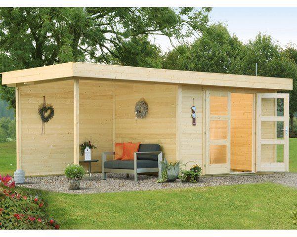 Wolff Finnhaus Holz Gartenhaus Calais Mit Anbau Ruckwand 555 Cm X 250 Cm Backyard Decor Outdoor Decor Outdoor Structures