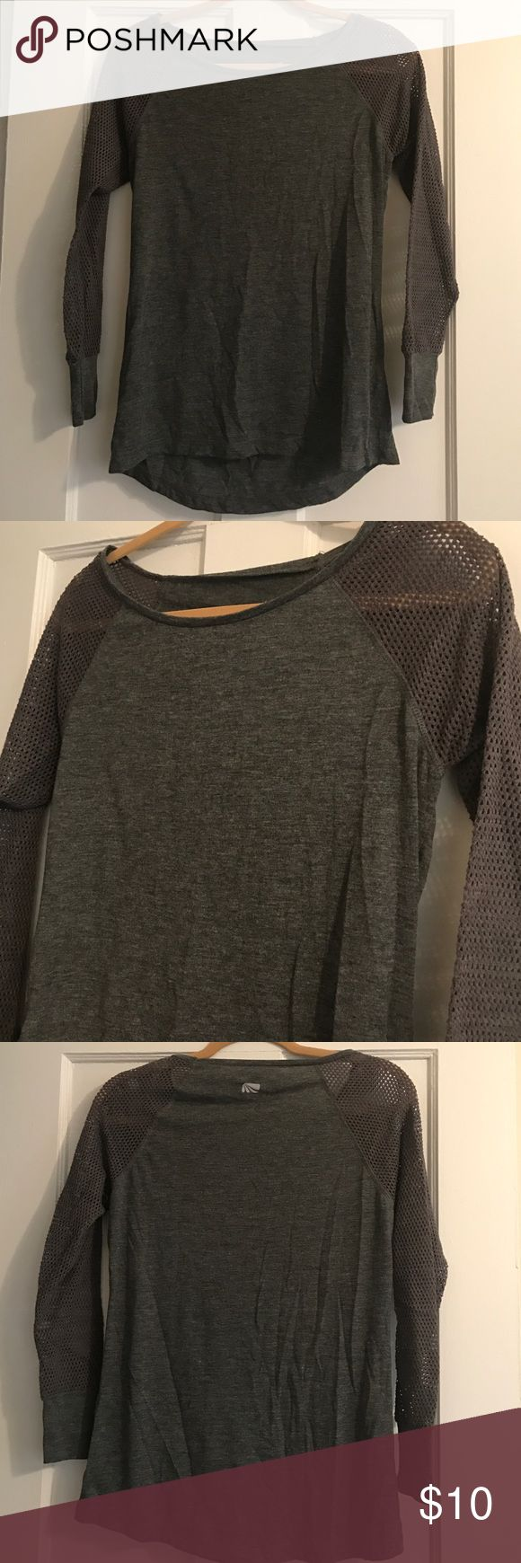 Adorable gray athletic top with mesh sleeves In new condition. Supppper soft. Really cute mesh sleeves. Crew cut neck. No flaws. Size small but could also fit medium. Poly and rayon. Marika Tops Tees - Long Sleeve