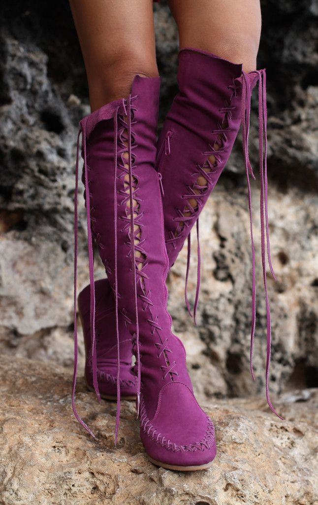 218 Purple knee high leather boots
