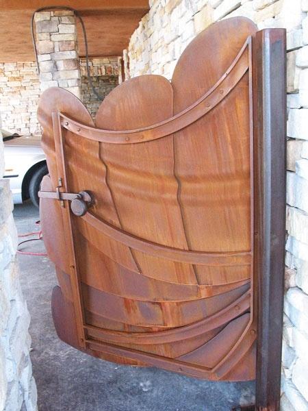 Organic Sculptural Entry Gate, Cor-Ten Steel, natural rust finish