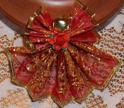 """DIY Homemade Christmas Ornaments at BetterBudgeting: Christian """"Red Angel Wire Ribbon"""" with wired lace ribbon, easy to make!"""