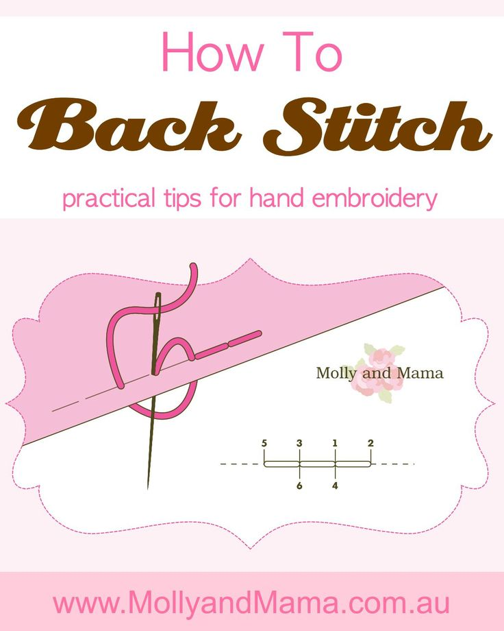 Learn practical tips for the back stitch embroidery technique. This basic stitch is the most simple and easy to achieve. This beginner's Molly and Mama tutorial links to hoop art sewing projects, kids crafts, patterns and more. Easy, simple, fun!