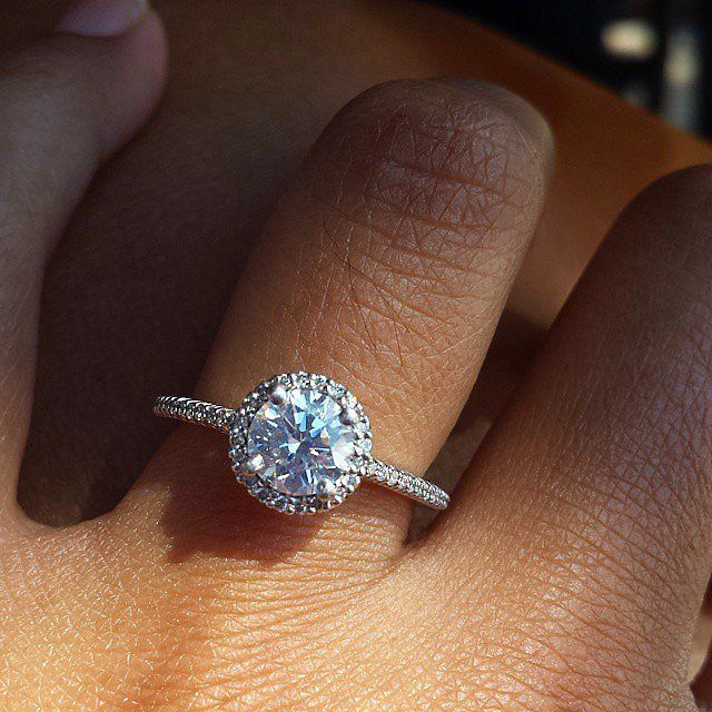 How Swoon Worthy Is This Engagement Ring The Jeweled Band And Circle Diamond Crea Square Halo Engagement Rings Proposal Ring Engagement Womens Engagement Rings