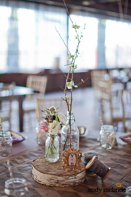 Country wedding decorations with birch. Nini thought incorporating twigs with ap