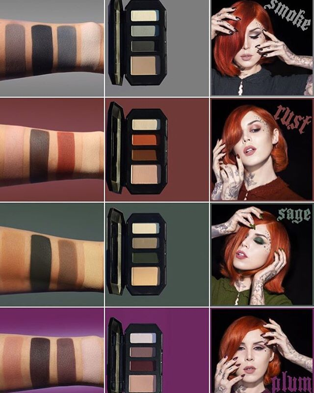 All the kat von d Shade+Light Eye Contour Quads and their respective swatches!!! These babies are launching on the sephora website on March 29 and will cost $26 a pop!